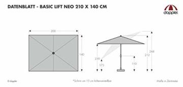 Derby Basic Lift NEO 250x200 – Rechteckiger Sonnenschirm – Höhenverstellbar – ca. 250x200 cm – Anthrazit - 6