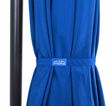 Deuba® Alu Ampelschirm Ø 330cm blau mit Kurbelvorrichtung Aluminium Wasserabweisende Bespannung - Sonnenschirm Schirm Gartenschirm Marktschirm - 2