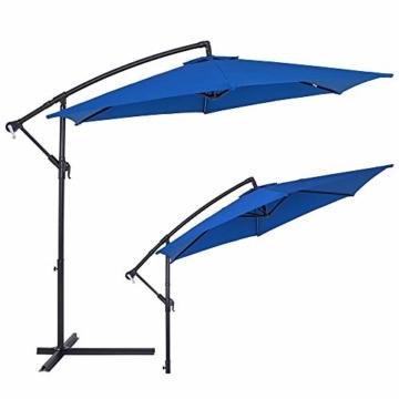 Deuba® Alu Ampelschirm Ø 330cm blau mit Kurbelvorrichtung Aluminium Wasserabweisende Bespannung - Sonnenschirm Schirm Gartenschirm Marktschirm - 3