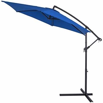 Deuba® Alu Ampelschirm Ø 330cm blau mit Kurbelvorrichtung Aluminium Wasserabweisende Bespannung - Sonnenschirm Schirm Gartenschirm Marktschirm - 1