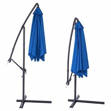 Deuba® Alu Ampelschirm Ø 330cm blau mit Kurbelvorrichtung Aluminium Wasserabweisende Bespannung - Sonnenschirm Schirm Gartenschirm Marktschirm - 5