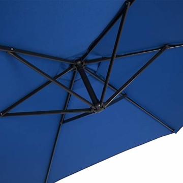 Deuba® Alu Ampelschirm Ø 330cm blau mit Kurbelvorrichtung Aluminium Wasserabweisende Bespannung - Sonnenschirm Schirm Gartenschirm Marktschirm - 6