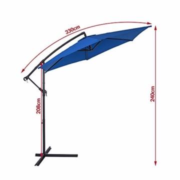 Deuba® Alu Ampelschirm Ø 330cm blau mit Kurbelvorrichtung Aluminium Wasserabweisende Bespannung - Sonnenschirm Schirm Gartenschirm Marktschirm - 7