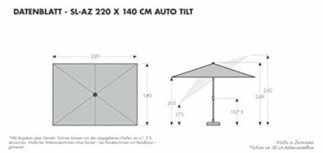 doppler Aluminium Sonnenschirm SL-AZ 220x140 - Rechteckiger Kurbelschirm - Modernes Design - Starker UV-Schutz - 220x140 cm - Anthrazit - 2