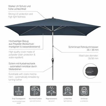 doppler Aluminium Sonnenschirm SL-AZ 220x140 - Rechteckiger Kurbelschirm - Modernes Design - Starker UV-Schutz - 220x140 cm - Anthrazit - 3