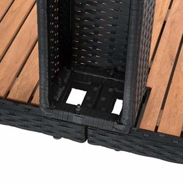 ESTEXO Rattan Gartendusche Rash mit Akazienholzplatte und großem Duschkopf - 3