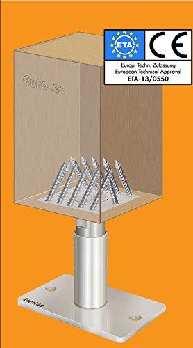 EUROTEC Pedix Pfostenträger, höhenverst. 140-190mm, unsichtbare Verschraubung - 3