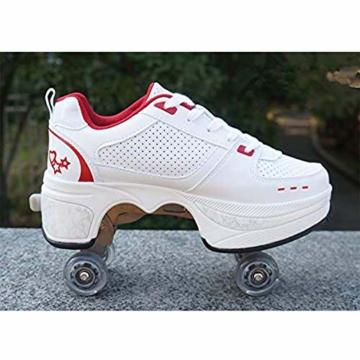Fbestxie Laufschuhe Sportschuhe Kinder Skateboard Schuhe Kinderschuhe mit Rollen Skate Rollen Schuhe Trainer Gymnastik Sneakers für Junge Mädchen Weihnachten Ostern,42 - 2