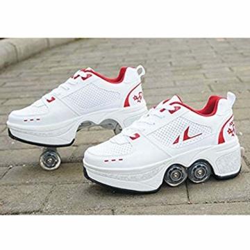 Fbestxie Laufschuhe Sportschuhe Kinder Skateboard Schuhe Kinderschuhe mit Rollen Skate Rollen Schuhe Trainer Gymnastik Sneakers für Junge Mädchen Weihnachten Ostern,42 - 3