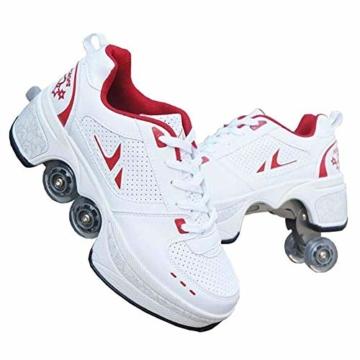Fbestxie Laufschuhe Sportschuhe Kinder Skateboard Schuhe Kinderschuhe mit Rollen Skate Rollen Schuhe Trainer Gymnastik Sneakers für Junge Mädchen Weihnachten Ostern,42 - 1