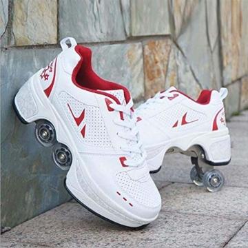 Fbestxie Laufschuhe Sportschuhe Kinder Skateboard Schuhe Kinderschuhe mit Rollen Skate Rollen Schuhe Trainer Gymnastik Sneakers für Junge Mädchen Weihnachten Ostern,42 - 5