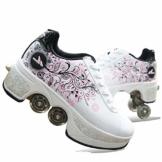 Fbestxie Laufschuhe Sportschuhe Kinder Skateboard Schuhe Kinderschuhe mit Rollen Skate Rollen Schuhe Trainer Gymnastik Sneakers für Junge Mädchen Weihnachten Ostern,37 - 1