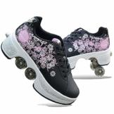 Fbestxie Unisex-Kinder Skateboard Schuhe Kinderschuhe mit Rollen Skate Shoes Rollen Schuhe Sportschuhe Laufschuhe Sneakers mit Rollen Kinder Jungen Mädchen,36 - 1
