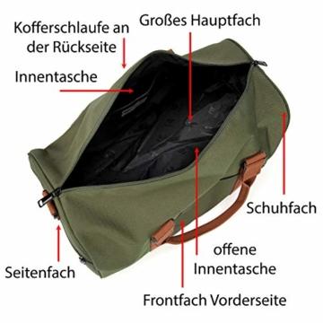 FEDUAN original Handgepäck mit Schuhfach Trainingstasche Fitnesstasche Gym-Tasche Sporttasche hochwertige Reisetasche Schultergurt Herren Damen Freizeit Training Reise Oliv-grün grün - 5