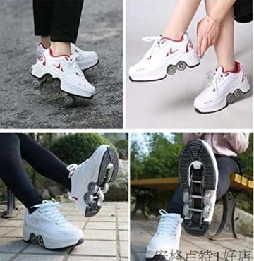 FGERTQW Multifunktionale Deformation Schuhe Quad Skate Rollschuhe Skating Outdoor Sportschuhe Für Erwachsene,White-40 - 2