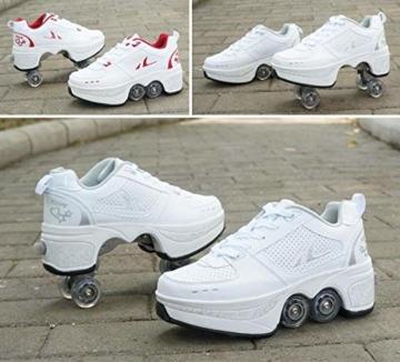 FGERTQW Multifunktionale Deformation Schuhe Quad Skate Rollschuhe Skating Outdoor Sportschuhe Für Erwachsene,White-40 - 4