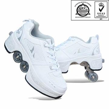FGERTQW Multifunktionale Deformation Schuhe Quad Skate Rollschuhe Skating Outdoor Sportschuhe Für Erwachsene,White-40 - 1