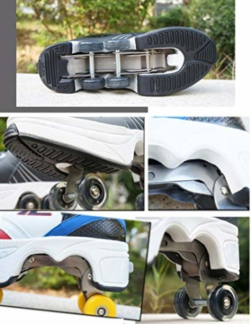 FGERTQW Multifunktionale Deformation Schuhe Quad Skate Rollschuhe Skating Outdoor Sportschuhe Für Erwachsene,White-40 - 5