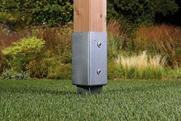 Gartenwelt Riegelsberger Einschlagbodenhülse für Pfosten Bodenhülse Einschlaghülse Pfostenträger Einschlag-Bodenhülse Pfostenanker verzinkt 121x121x900mm - 2