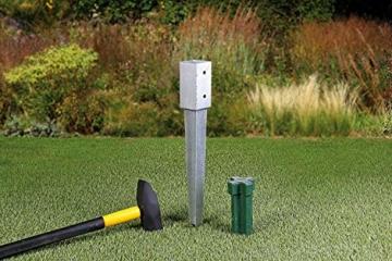 Gartenwelt Riegelsberger Einschlagbodenhülse für Pfosten Bodenhülse Einschlaghülse Pfostenträger Einschlag-Bodenhülse Pfostenanker verzinkt 121x121x900mm - 4
