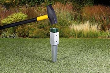 Gartenwelt Riegelsberger Einschlagbodenhülse für Pfosten Bodenhülse Einschlaghülse Pfostenträger Einschlag-Bodenhülse Pfostenanker verzinkt 121x121x900mm - 5