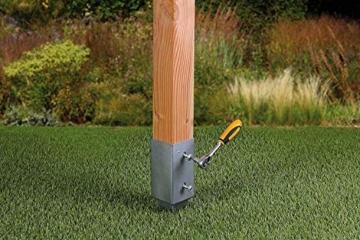 Gartenwelt Riegelsberger Einschlagbodenhülse für Pfosten Bodenhülse Einschlaghülse Pfostenträger Einschlag-Bodenhülse Pfostenanker verzinkt 121x121x900mm - 6