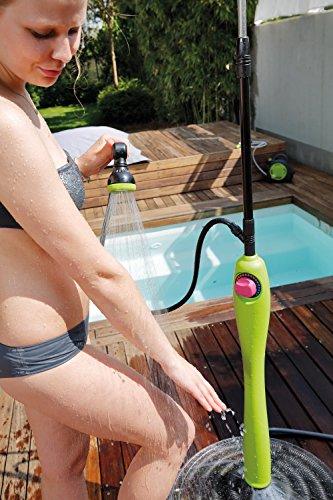 GF GARDEN, Solardusche Sunny Style Premium, Gartendusche, Swimmingpool, für den Außenbereich, ideal auch für Urlaub und Camping, mit Mischer für warmes und kaltes Wasser, Farbe Limettengrün - 7