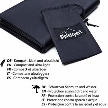 gipfelsport Picknickdecke - Outdoor Picknick Decke I Stranddecke, wasserdicht, waschbar, sandfrei I 200x140 cm groß I schwarz - 4