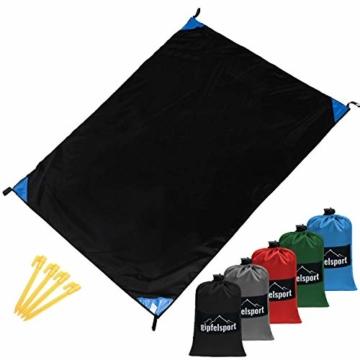 gipfelsport Picknickdecke - Outdoor Picknick Decke I Stranddecke, wasserdicht, waschbar, sandfrei I 200x140 cm groß I schwarz - 1