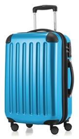 HAUPTSTADTKOFFER - Alex -  4 Doppel-Rollen Handgepäck Hartschalen-Koffer Trolley Rollkoffer Reisekoffer, TSA, 55 cm, 42 Liter, Cyanblau - 1