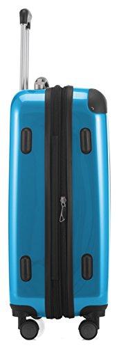 HAUPTSTADTKOFFER - Alex -  4 Doppel-Rollen Handgepäck Hartschalen-Koffer Trolley Rollkoffer Reisekoffer, TSA, 55 cm, 42 Liter, Cyanblau - 4