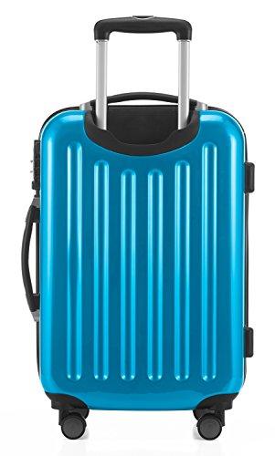 HAUPTSTADTKOFFER - Alex -  4 Doppel-Rollen Handgepäck Hartschalen-Koffer Trolley Rollkoffer Reisekoffer, TSA, 55 cm, 42 Liter, Cyanblau - 5