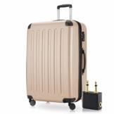 Hauptstadtkoffer - Spree Hartschalen-Koffer-XL Koffer Trolley Rollkoffer Reisekoffer Erweiterbar, 4 Rollen, TSA, 75 cm, 119 Liter, Champagner +Flugzeug Audio Adapter - 1