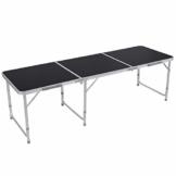 Homfa Campingtisch Klapptisch faltbar Gartentisch aus Aluminium Falttisch höhenverstellbar schwarz 180x60x55/60/70cm - 1