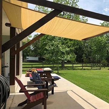 Innoo Tech Sonnensegel Sonnenschutz Garten Balkon wetterbeständig wasserabweisend HDPE atmungsaktiv Schattenspender Rechteckig PES UV-Schutz für Garten Outdoor (2 x 3 m) - 7