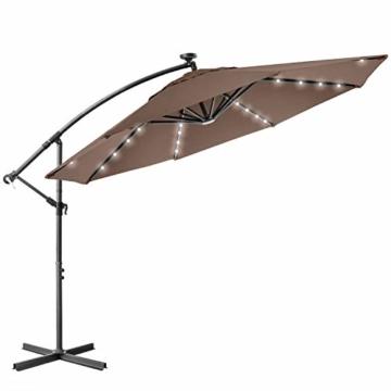 Kesser® Alu Ampelschirm LED Solar Ø350cm + Abdeckung mit Kurbelvorrichtung UV-Schutz Aluminium mit An-/Ausschalter Wasserabweisend - Sonnenschirm Schirm Gartenschirm Marktschirm Taupe - 2