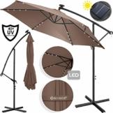 Kesser® Alu Ampelschirm LED Solar Ø350cm + Abdeckung mit Kurbelvorrichtung UV-Schutz Aluminium mit An-/Ausschalter Wasserabweisend - Sonnenschirm Schirm Gartenschirm Marktschirm Taupe - 1