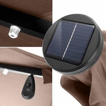 Kesser® Alu Ampelschirm LED Solar Ø350cm + Abdeckung mit Kurbelvorrichtung UV-Schutz Aluminium mit An-/Ausschalter Wasserabweisend - Sonnenschirm Schirm Gartenschirm Marktschirm Taupe - 4