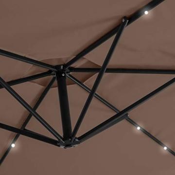 Kesser® Alu Ampelschirm LED Solar Ø350cm + Abdeckung mit Kurbelvorrichtung UV-Schutz Aluminium mit An-/Ausschalter Wasserabweisend - Sonnenschirm Schirm Gartenschirm Marktschirm Taupe - 5