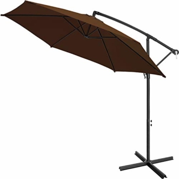 Kesser® Alu Ampelschirm Ø 350 cm mit Kurbelvorrichtung UV-Schutz Aluminium Wasserabweisende Bespannung - Sonnenschirm Schirm Gartenschirm Marktschirm Braun - 2