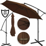 Kesser® Alu Ampelschirm Ø 350 cm mit Kurbelvorrichtung UV-Schutz Aluminium Wasserabweisende Bespannung - Sonnenschirm Schirm Gartenschirm Marktschirm Braun - 1