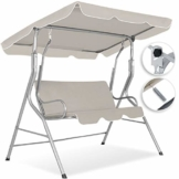 Kesser® Hollywoodschaukel 3-Sitzer 250kg belastbar mit abnehmbarem Sonnenschutz Dach Gartenschaukel Schaukelbank Schaukel Garten Indoor Gartenmöbel, Beige - 1