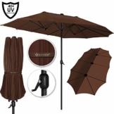 Kesser® Sonnenschirm Doppelsonnenschirm | Gartenschirm | Marktschirm | Terrassenschirm mit Handkurbel | Oval | Aluminium | UV-beständig | wasserabweisenden | Braun - 1