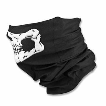Kim Johanson Multifunktionstuch | Maske | Schlauchtuch | Sturmmaske | Bandana | Totenkopf Halstuch | Skelettmaske für Motorrad Fahrrad Ski Paintball Wandern Skull Waschbar (3 Stück) - 2