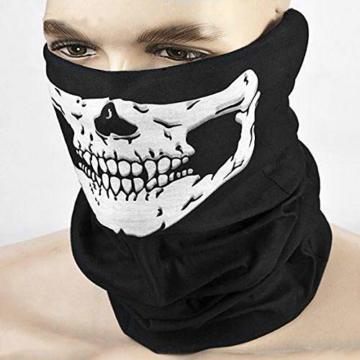 Kim Johanson Multifunktionstuch | Maske | Schlauchtuch | Sturmmaske | Bandana | Totenkopf Halstuch | Skelettmaske für Motorrad Fahrrad Ski Paintball Wandern Skull Waschbar (3 Stück) - 4