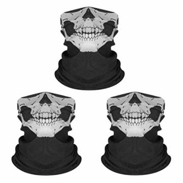Kim Johanson Multifunktionstuch | Maske | Schlauchtuch | Sturmmaske | Bandana | Totenkopf Halstuch | Skelettmaske für Motorrad Fahrrad Ski Paintball Wandern Skull Waschbar (3 Stück) - 1