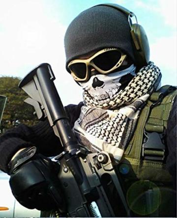 Kim Johanson Multifunktionstuch | Maske | Schlauchtuch | Sturmmaske | Bandana | Totenkopf Halstuch | Skelettmaske für Motorrad Fahrrad Ski Paintball Wandern Skull Waschbar (3 Stück) - 5