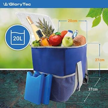 Kühltasche 20l inklusive 2 Kühlakkus - mit integriertem Flaschenöffner - praktisches Fach auf der Oberseite & seitliche Einstecknetze - aus hochwertigem Oxford Polyester - 3