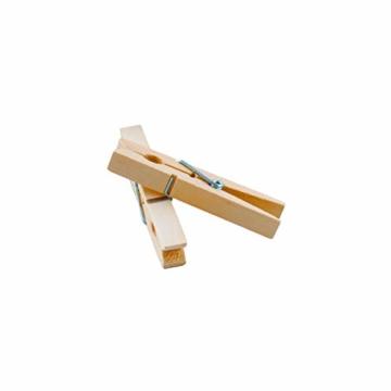 LANDHÜTTE 100 x Wäscheklammern aus Holz - 7,4 cm x 1 cm - umweltfreundliche Klammern aus Birkenholz - 4