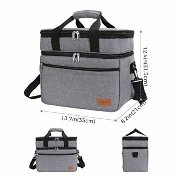 Lifewit 23L Kühltasche Gross Lunchtasche Isoliert mit Abnehm- und Verstellbarer Schulterriemen für Aufbewahrung von Wärme und Kälte, Multifunktional Picknicktasche,Grau - 2